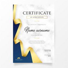 Certificado elegante con cinta dorada ve. Free Printable Certificates, Certificate Of Achievement Template, Certificate Design Template, Brosure Design, Food Graphic Design, Free Design, Award Template, Theme Template, First Grade Spelling