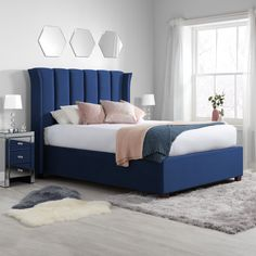 Style, comfort and generous storage are all on offer with the Fenton Midnight Blue Velvet Fabric Ottoman Bed. With a useful and accessible ottoman storage base your bedroom is guaranteed to be tidy as well as super fashionable with the amazing stateme Grey Velvet Bed, Velvet Bed Frame, Blue Velvet Fabric, Blue Headboard, Headboard Decor, Blue Bedding, Fabric Headboards, Upholstered Headboards, Ottoman Bed