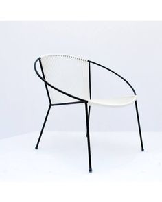 Hoop Chair White Cord Black Frame Outdoor Chairs, Outdoor Furniture, Outdoor Lounge, Lounge Chairs, Acapulco Chair, Wooden Sofa Designs, Round Chair, Mid Century Chair, Accent Pieces