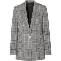 Alexander Wang Leather-trimmed checked crepe blazer ($1,785) ❤ liked on Polyvore featuring outerwear, jackets, blazers, peak lapel blazer, slouchy blazer, peaked lapel blazer, oversized blazer and polka dot jacket