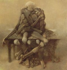 I just got a copy of of the Fantastic Art of Beksinski , though I have appreciated his surreal art for a long time. Zdzislaw Beksinski was a. Arte Horror, Horror Art, Art And Illustration, Fantasy Kunst, Creepy Art, Art Database, Fantastic Art, Surreal Art, Macabre