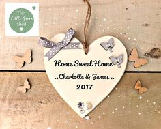 Home sweet Home Heart A FANTASTIC GIFT FOR New Home Birthday Housewarming Hand cut, sanded and painted to order from scratch, ivory painted wood, Graphic picture printed front with black text. Jute string and little ribbon twist and embellishments our plaques are made from