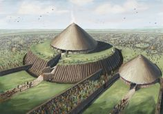 Rathcroghan  A few months ago I had the honour of being commissioned to do the first interpretation illustration of Rathcroghan/Ráth Cruachan in Roscommon by Roscommon county council based on recent archaeological evidence from the site itself. I was generously aided in the interpretation by Joe Fenwick, who has done alot of research on the site and written about it extensively.  Rathcroghan is one of 6 Iron Age Royal sites in Ireland, which include the likes of Hill of Tara and Navan fort