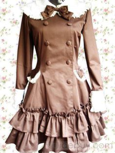 Cotton Chocolate Long Sleeves Ruffles Sweet Lolita Dress