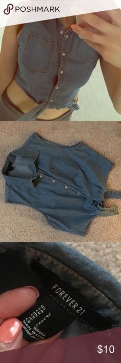 F21 jean crop top F21 Jean crop top in excellent condition! Size S. Only worn once. Forever 21 Tops Crop Tops