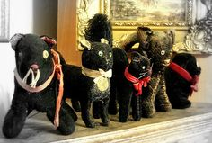 Vintage stuffed toy Black cats.