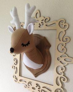 Deer Stuffed Taxidermy by MisfitMenagerie on Etsy, $50.00 would be so cute in a little boy's room!