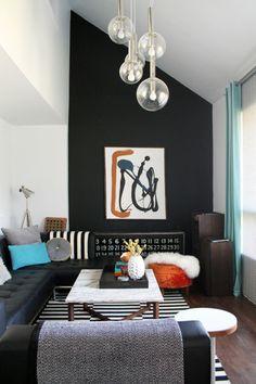 Wohnzimmereinrichtung Ideen Wanddeko Grne Gardinen Pendelleuchten