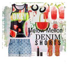 """Melow Mellon Denim"" by alvernacecilia on Polyvore featuring mode, Aéropostale, STELLA McCARTNEY, New Look, Palm Beach Jewelry, jeanshorts, denimshorts en cutoffs"