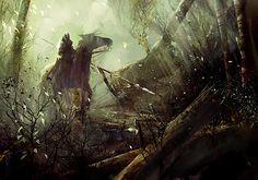 Forest Horseman by Richard Anderson Medieval Life, Medieval Fantasy, Matte Painting, High Fantasy, Fantasy World, Richard Anderson, Digital Art Gallery, Knight In Shining Armor, Dark Knight