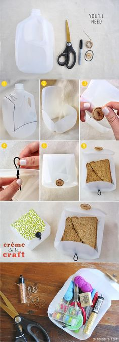 Milk Jug Sandwich Protector diy sandwich craft ideas diy crafts crafty back to school school crafts milk jug crafts for kids back to school crafts Diy Projects To Try, Craft Projects, Craft Ideas, Diy Ideas, Milk Jug Crafts, Milk Jug Projects, Easy Crafts, Diy And Crafts, Lunch Box Containers