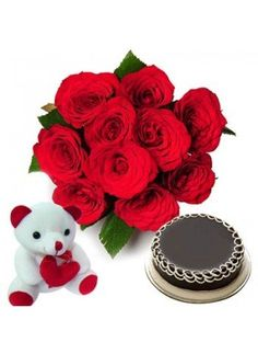 Bunch of 12 red roses, 500gm chocolate cake and teddy bear  http://bookurgift.com/334-love-treat
