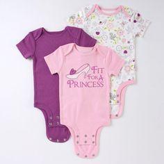 "DISNEY CUDDLY BODYSUIT - Disney Princess ""Fit for a Princess"" 3-Pack"