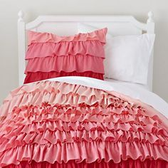 Girls Bedding: Pink Ombre Ruffled Bedding Set - Twin Fade to Pink Duvet Cover and other furniture & decor products. Browse and shop related looks. Pink Bedding, Bedding Sets, Luxury Bedding, Pink Bedspread, Cute Bedding, Teen Bedding, Ruffle Duvet, Ruffles, Babies Rooms