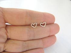 Tiny heart silver earrings, heart stud earrings, small post earrings silver, minimalist earrings, simple, everyday jewelry