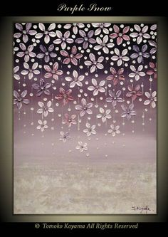 Original Impasto Abstract Painting on Gallery wrapped Canvas 18 x 24 Home Decor, Wall Art --- Purple snow---- by Tomoko Koyama on Etsy, $129.00