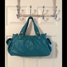 Presa Teal Gold Leather Tote Bag Gold,hardware.  Zip closure.  3 interior pockets (1 zips).  2 side snap pockets.  Great condition.  Leather.  Measures:11.25x4.5x8.25x6.25. Presa Bags Totes
