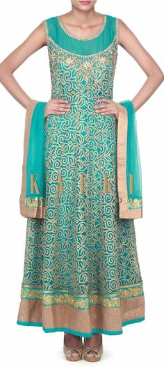 Buy this Teal anarkali suit adorn in mirror and kundan embroidery only on Kalki