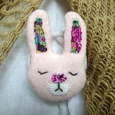 Pink Bunny Rabbit Brooch - upcycled textile £6.00