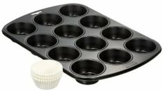 Kaiser Germany 12-Cup Nonstick Bakeware Muffin Pan with 60 Paper Cupcake Liners by Kaiser Bakeware, made in Germany. $54.49. Large handles for secure grip and to keep oven mitts out of the batter. 12-cup muffin pan; cold-rolled steel construction; two-coat silicone polyester nonstick surface. Hand wash only; nylon, plastic, or wood utensils only; oven-safe to 500 degrees F. Each cup measures 2-3/4 inches across and 1-1/4 inches deep. 15-1/4 by 10-1/2 by 1-1/4 inche...