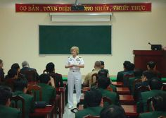 NDU President Vice Admiral Ann Rondeau gives presentation to class at Vietnam's National Defense Academy [NDU]
