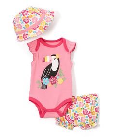 Take a look at this Weeplay Kids Pink Toucan Bodysuit Set - Infant today!