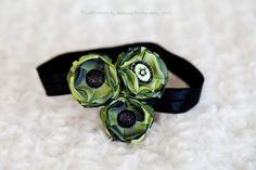 Green Ribbon Flower Baby Headband Baby Photo by ItsyBitsyBlooms, $16.50