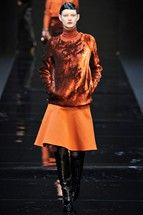 Guy Laroche fall '12 orange skirt and browns and oranges sweater