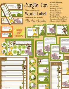 Kids labels in a jungle gym theme by ShySocialites. Very cute Book labels, lunchbox love notes, reading tracker, allergy alert and so much more in printable PDF tempaltes. How sweet is the baby Ele… Book Labels, Kids Labels, Printable Labels, Free Printables, Jungle Theme Classroom, Classroom Themes, Classroom Organization, Reading Bookmarks, Reading Tracker