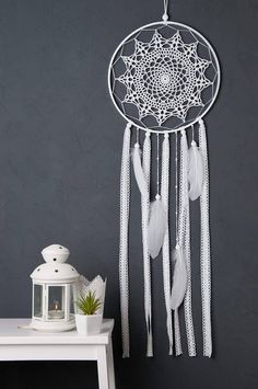 White Dream Catcher, Wedding Dream Catcher Crochet Doily Dreamcatcher, nursery decor, large dreamcatcher, boho style, wedding decor, wall hanging, wall decor, handmade dreamcatcher It will defend you and your family from bad dreams and fight against evil spirits trying to creep into