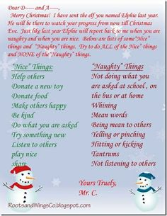 Elf on the Shelf letter to kids