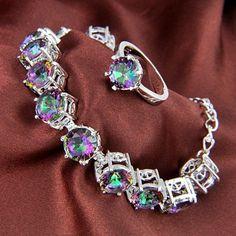 TOP Sale Fire Rainbow Mystical Topaz Gems Silver Bracelet Earrings Jewelry SET #New