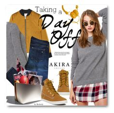 """Taking A Day Off"" by beebeely-look ❤ liked on Polyvore featuring Akira, rag & bone, Timberland, Earthkeepers By Timberland, casual, denim, plaid, casualfriday and shopakira"