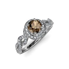 Twisted Halo Engagement Ring #Smoky #Quartz, the #November #Birthstone helps to reduce depression and has calming effect. #gemstone #love #finejewelry #trijewels