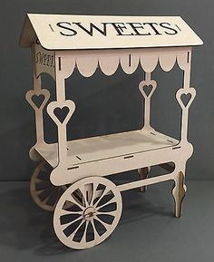 unpainted Wedding Sweet Candy Cart// BARROW with shelf and  MDF Roof  Folds Away