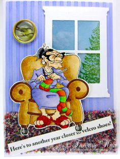 """Knitty Nora"" digi stamp http://www.doctor-digi.com/knitty-nora-digital-stamp Card by Tammy http://tammy-tammyspot.blogspot.co.uk/"