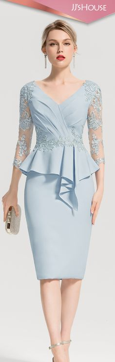 Sheath/Column V-neck Knee-Length Satin Cocktail Dress With Appliques Lace Cascading Ruffles #JJsHouse #Cocktail dresses