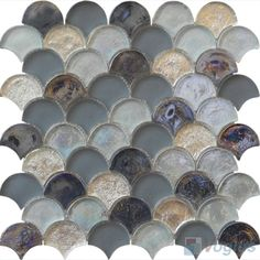 Titanium fan shape fish scale glass tiles vg ufn88 for Mlf fishing scale