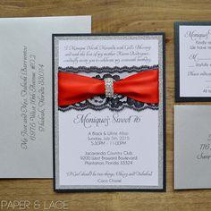 Black & Silver Glitter Sweet 16 Invitation with Black Lace and Rhinestone Brooch - Black Lace Invitation - Quincea�eara Invitation (MONIQUE)