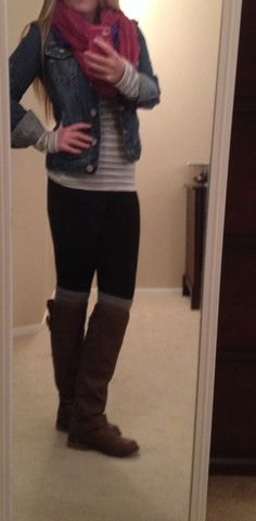 Leggings, tunic, jean jacket, scarf and riding boots