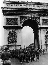 German troops marching through the Arc De Triomphe after the surrender of Paris on the 14th of June, 1940.