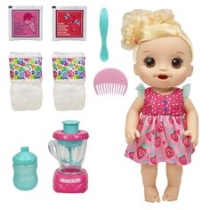 Baby Alive Magical Mixer Baby Doll Strawberry Shake with Blender Accessories, Drinks, Wets, Eats, Blonde Hair Toy for Kids Ages 3 and Up - Toys Flirts Pretty Blonde Hair, Baby Blonde Hair, Muñeca Baby Alive, Baby Alive Dolls, Baby Doll Toys, Disney Baby Dolls, Baby Alive Doll Clothes, Toddler Dolls, Pink Treats