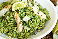Whole Grain Pasta Salad in Bright, Lemon-Basil Pesto with Grilled Garlic Chicken and Pine Nuts