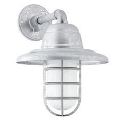 Atomic Industrial Guard Sconce, 975-Galvanized   CGG-Standard Cast Guard, FR-Frosted Glass- for the back of the house
