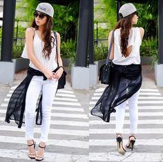 Obey Cap, Wagw Top Obey Cap, Kryz Uy, Moda Chic, Filipina, Fashion 101, White Jeans, Style Me, That Look, Style Inspiration