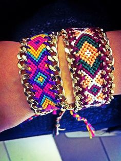 Friendship braceletS with gold chain!!