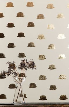 Handmade wallpaper Bowler hat design. Perhaps in the foyer?