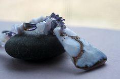 Purple Sky Blue Funky and Chunky Beaded by AncientSunJewelry
