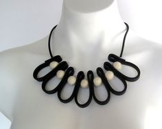 modern rubber necklace bib necklace  contemporary by frankideas, $45.00