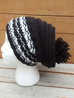 black and white hat black slouchy chunky knit hat hipster slouch beanie cream knit beanie slouchy winter knit unisex hat black and white by UniqueKnitDesign on Etsy
